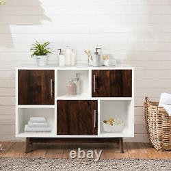 Costway Armoire De Rangement D'affichage En Bois Console Table Tv Stand Polyvalent Avec Étagère