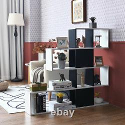 Costway Bookshelf Corner Ladder Bibliothèque 5-tier Display Storage Rack Noir Blanc