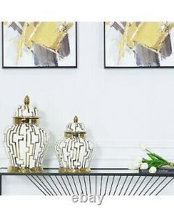 Couvercle En Treillis De Décoration Intérieure En Treillis D'affichage De Pots De Gingembre D'or Blanc