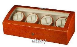 Diplomat Estate Burlwood Eight 8 Watch Winder Wood Display Storage Case Box Nouveau