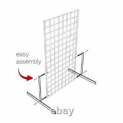 Display Grid Rack 3 Pack 6 Pi White Panel Retail Metal Stand Store Art Organizer