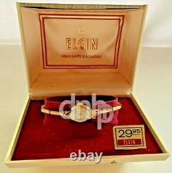 Elgin Femmes Nos 10k Gp Montre À Vent Manuel Avec Boîte D'affichage De Magasin D'origine 14mm