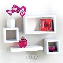 Ensemble Moderne De 4 Étagères Flottantes De Stockage D'affichage Cube D'affichage Étagère En Chêne Noir Blanc