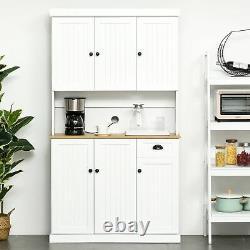 Étagères Hautes D'affichage D'armoire De Cuisine De Compartiment À Manger Étagères Blanches