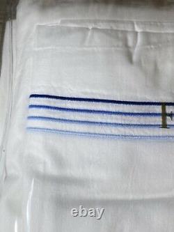 Frette Hotel Cruise Queen 4 Piece Sheet Set White / Sky Store Défauts D'affichage