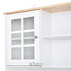 Grand Cabinet De Cuisine Armoire En Bois Garde-manger Rangement Avec Étagères D'affichage Blanc / Chêne