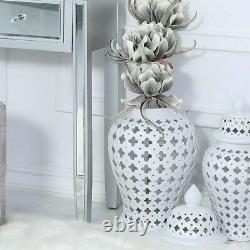 Grand Couvercle Blanc De Décor De Stockage De Pot De Gingembre D'affichage De Treillis À La Maison De Décoration