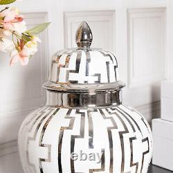Grand Pot De Gingembre En Argent Blanc Display Décor Lattice Maison Décoration