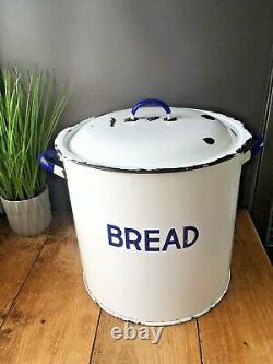Grand Vintage Numéro Militaire Émail Bread Bin Container Bakery Display