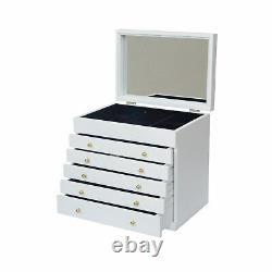 Grande Boîte À Bijoux Blanc Bijoux En Bois Organisateurs Vitrine De Stockage Anneau