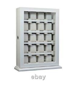 Gros 20 Slot Wrist Watch White Wood Storage Display Wall Cabinet Box Case Coffret