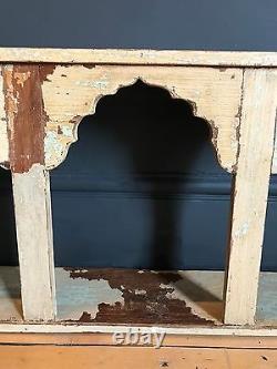 Indian Mughal Arch Shelf Boho Antique Cream Wood Rustic Storage Unit (en)