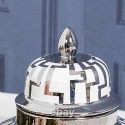 Medium Blanc Ginger Pot De Rangement Décor Affichage Lattice Maison Vase LID Décor