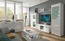 Meubles De Salle De Séjour Ensemble Blanc Gloss Affichage Cabinet D'affichage Tv Coffre