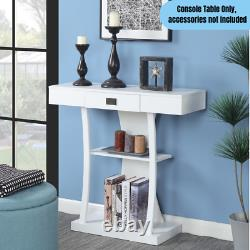 Moderne 1-drawer Console Table Home Office Accent Storage Display End Stand Blanc