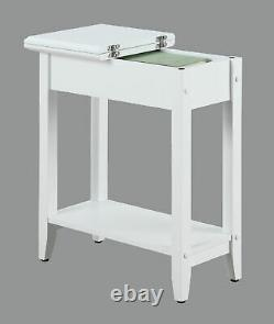 Moderne Flip Top Side Accent Table Narrow Display Shelf Concealed Storage White