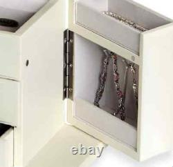 Musical Ballerina White Jewelry Box Storage Display Chest Wood Organizer, Filles