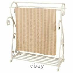 Nouveau Vintage White Quilt Rack Solid Stand Blanket Bedspread Storage Display Fer