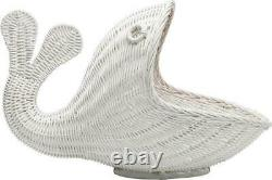 Panier D'entreposage Whimsical Whale Affichage White Rattan Wicker Coastal Beach Decor