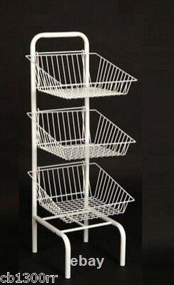 Paniers D'étalage Blanc De 3 Niveaux Dump Bin Display Retail Accueil Shop Storage New Veg