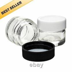 Qty 500 Pcs Small Glass Sz 5ml Screw Top Cap LID Jars 1/2 Black & White Cap Lids