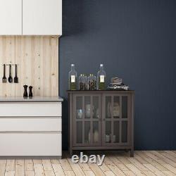 Rangement Buffet Cabinet Glass Door Sideboard Console Display Table Bedroom Brown