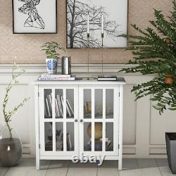 Rangement Buffet Cabinet Glass Door Sideboard Console Display Table Bedroom White