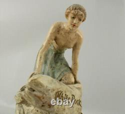 Rare Antique 1910 White Rock Boissons Plater Psyche Store Display Statue