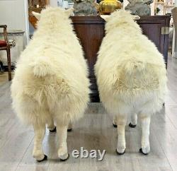 Rare Paire De Moutons 100% Sheepskin Sheep Brooks Brothers Store Display Sheep 3 Htf
