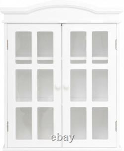 Salle De Bains Wall Cabinet 2 Portes Étagères Grand Stockage Vintage Glass Display Decor