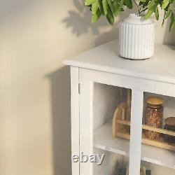 Serveur À Buffet En Bois Console Rangement Cabinet Curio Display Porte En Verre À Manger