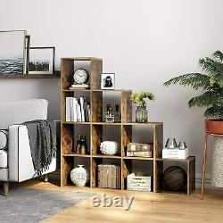 Step Style Rangement Cube 10 Étagère Bibliothèque En Bois Display Staircase Unit Blanc