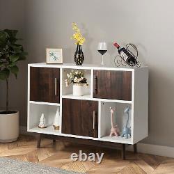 Support De Rangement Wood Display Console Table Tv Stand Polyvalent Avec Porte Et Étagère