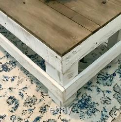 Table Basse De Ferme Solide Bois Récupéré Affichage Stockage Rustique Brun/blanc