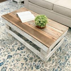 Table Basse Rustique De Ferme Solide Stockage Récupéré De Bois Brun/blanc
