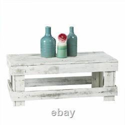 Table Basse Rustique Récupérée Maison De Vie De Ferme En Bois Affichage Blanc