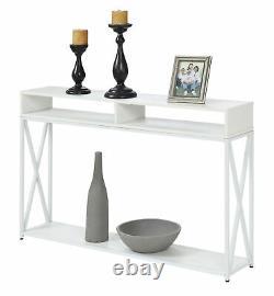 Table De Console Transitoire Avec Étagères Cubby Hallway Decor Display Storage Blanc