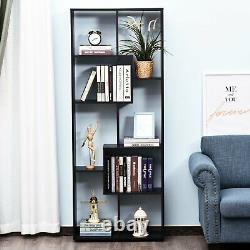 Tall Modern Bookshelf Modern Display Cabinet Storage Shelves Room Divider Noir