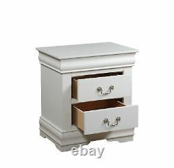Traditionnel Élégant 2-tiroir Table De Chevet Lampe De Chevet Table Display Storage Blanc