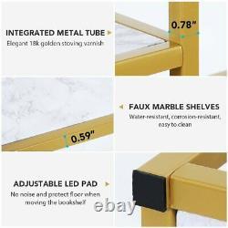 Tribesigns Display Shelf Storage Organizer Modern Gold Tube Frame Bookcase Décor