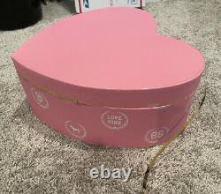 Victoria's Secret Vs Rose Monogram Chapeau Boîte De Magasin Affichage Boîte De Coeur Rare Htf