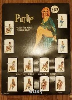 Vintage 1950 Affichage De Magasin 12 Pin Up Girl Flip Top Briquet Japon Rare Nos Lot