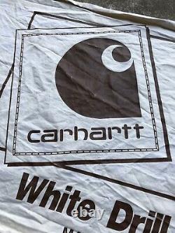 Vintage 70s Carhartt Vêtements De Travail Panneau Toile Bannière Store Display Denim 4ft X 2ft