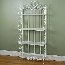 Vintage Style White 4 Tier Shelves Storage Open Display Bakers Rack Shelf Unit