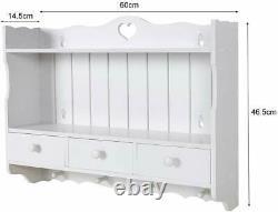Vintage Wall Mounted Shelf Kitchen Storage Furniture Display Unit Blanc En Bois