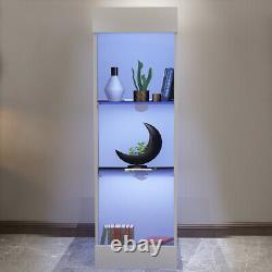 White High Gloss Glass Display Cabinet Bleu Led Étagères Latérales De Rangement