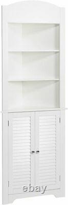 White Wooden Corner Linen Tower Storage Cabinet Tall Organisateur Serviettes De Bains